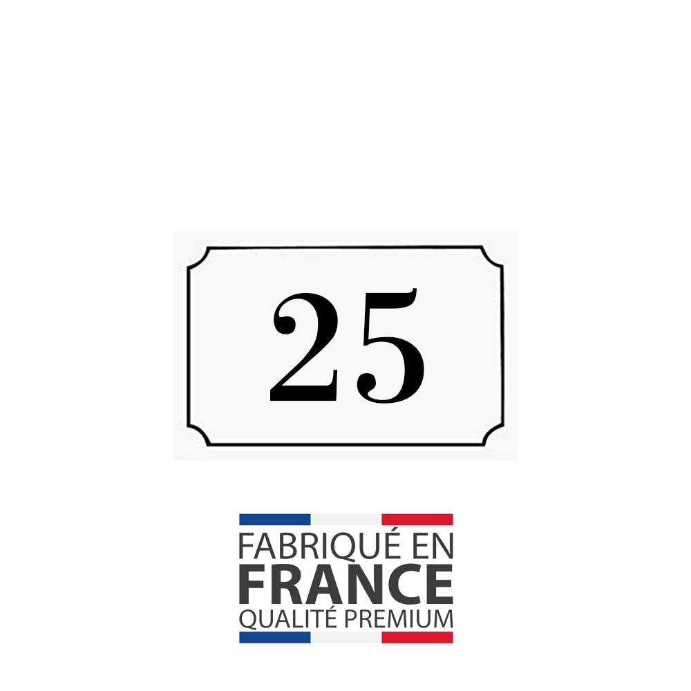 Numéro de maison / rue gravé et personnalisé couleur blanc chiffres noirs - Signalétique extérieure