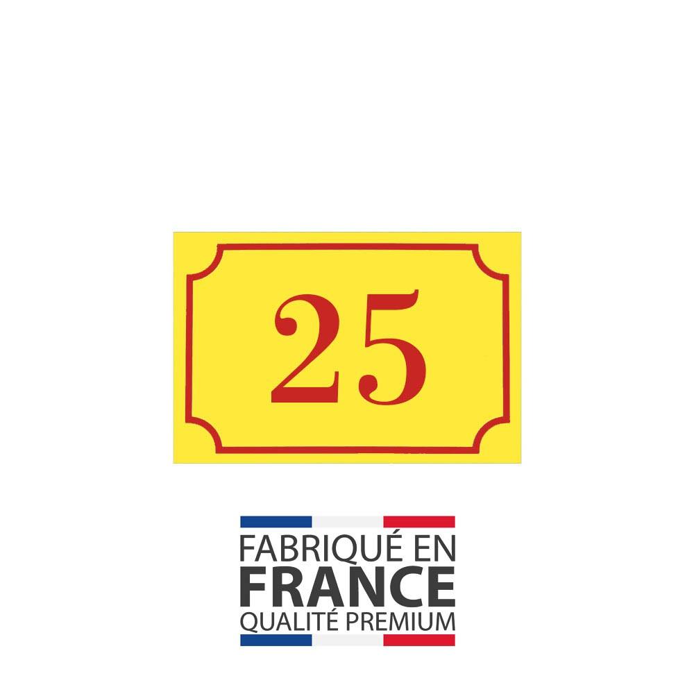 Numéro de maison / rue gravé et personnalisé couleur jaune chiffres rouges - Signalétique extérieure