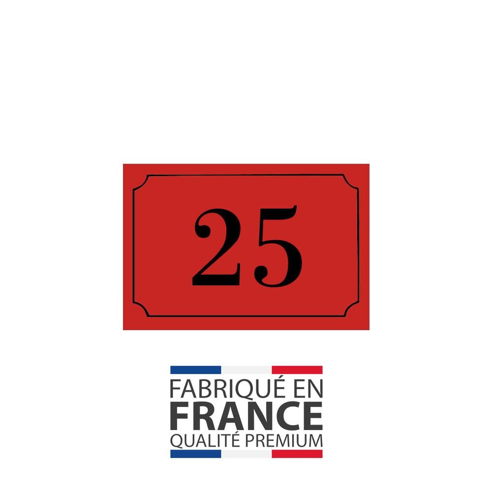 Numéro de maison / rue gravé et personnalisé couleur rouge chiffres noirs - Signalétique extérieure