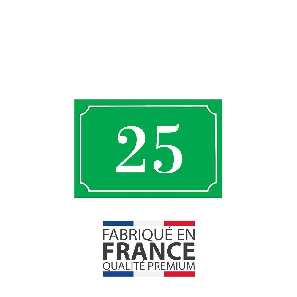 Numéro de maison / rue gravé et personnalisé couleur vert pomme chiffres blancs - Signalétique extérieure