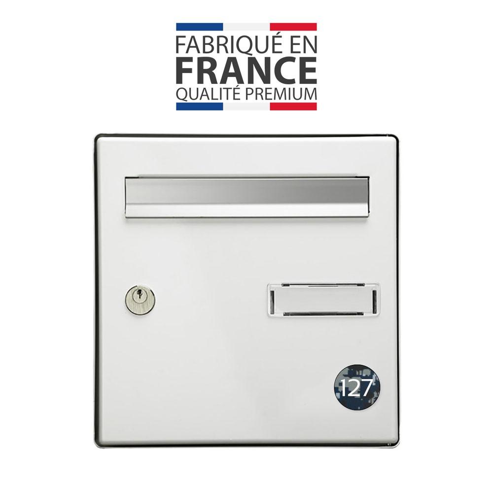 Numéro pour boite aux lettres personnalisable format rond diamètre 40 mm couleur Camo Bleu chiffres blancs