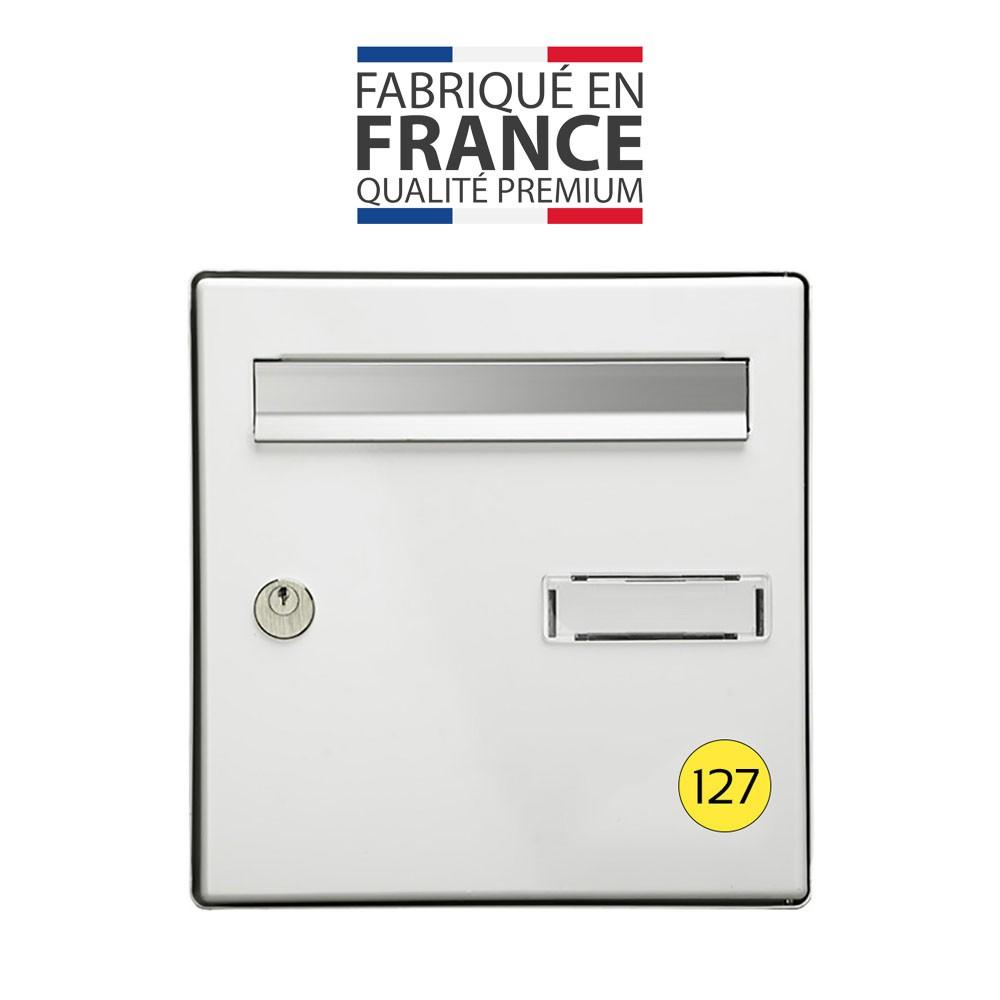 Numéro pour boite aux lettres personnalisable format rond diamètre 40 mm couleur jaune chiffres rouges