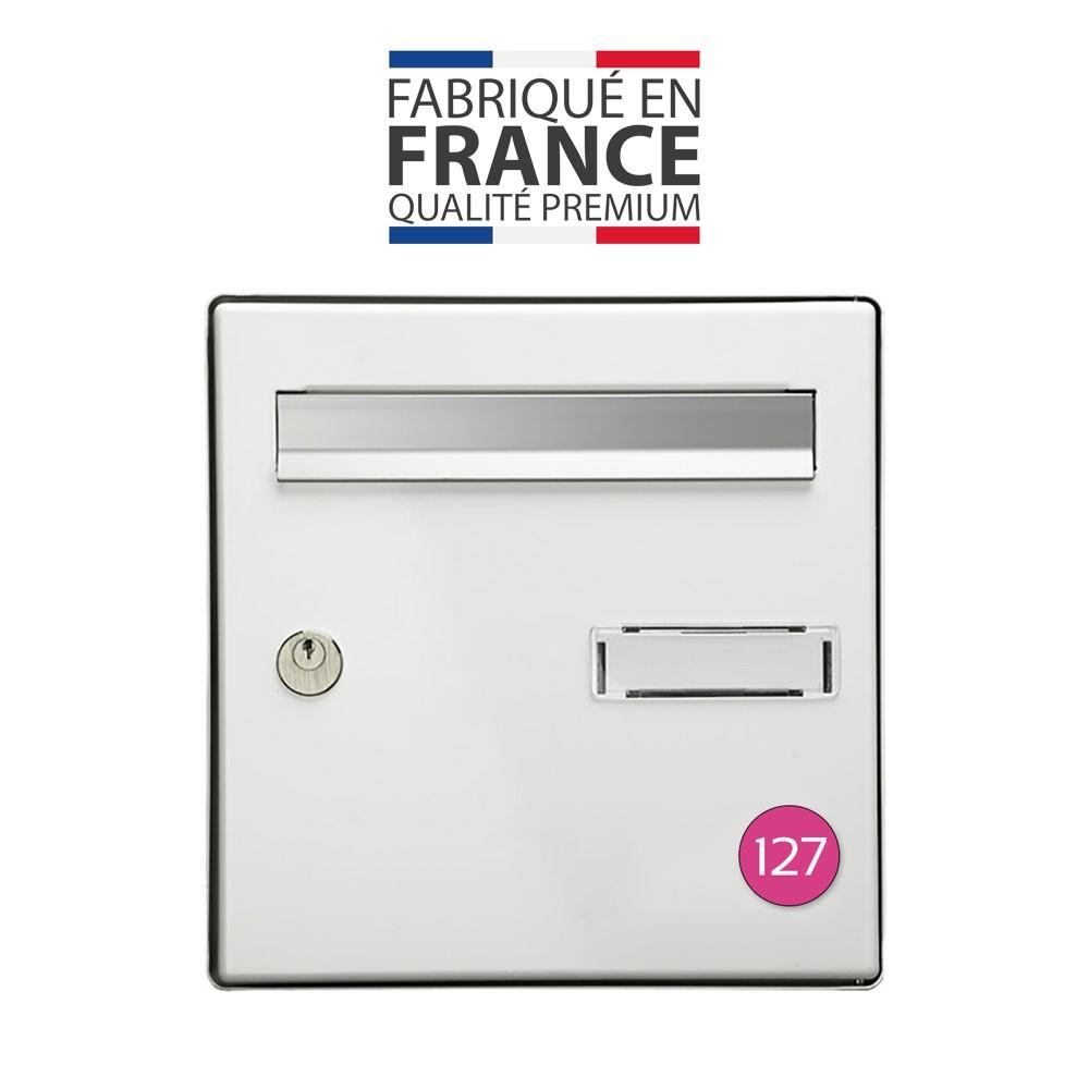 Numéro pour boite aux lettres personnalisable format rond diamètre 40 mm couleur rose chiffres blancs