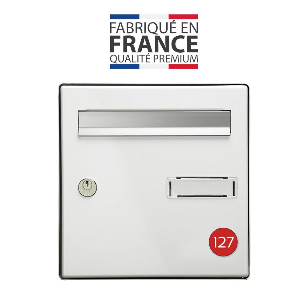 Numéro pour boite aux lettres personnalisable format rond diamètre 40 mm couleur rouge chiffres blancs