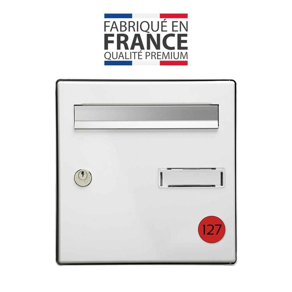 Numéro pour boite aux lettres personnalisable format rond diamètre 40 mm couleur rouge chiffres noirs