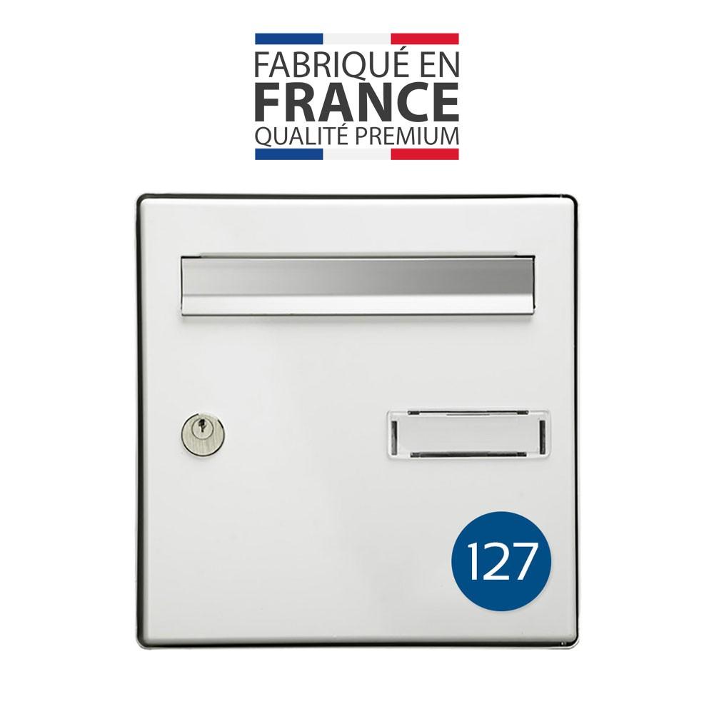 Numéro pour boite aux lettres personnalisable format rond diamètre 60 mm couleur bleu chiffres blancs