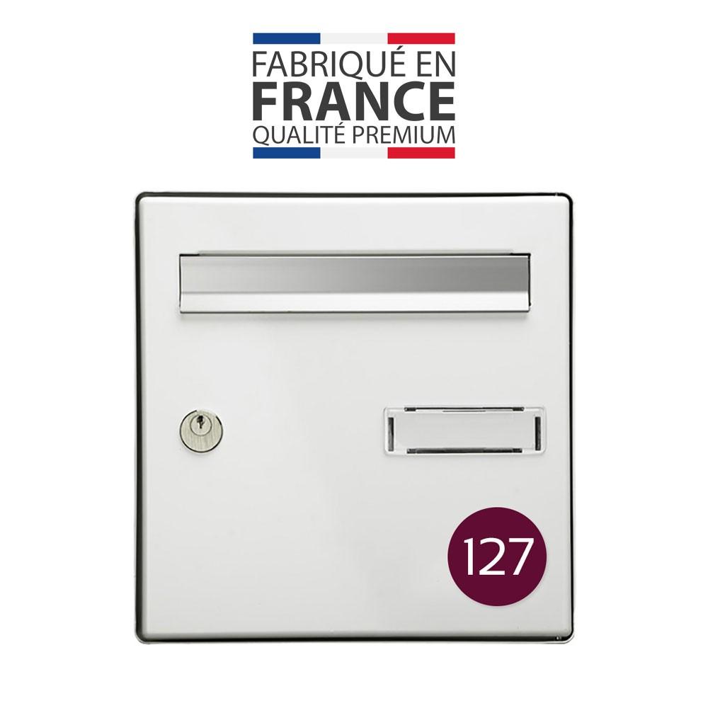 Numéro pour boite aux lettres personnalisable format rond diamètre 60 mm couleur bordeaux chiffres blancs