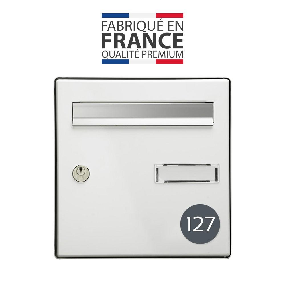 Numéro pour boite aux lettres personnalisable format rond diamètre 60 mm couleur gris chiffres blancs