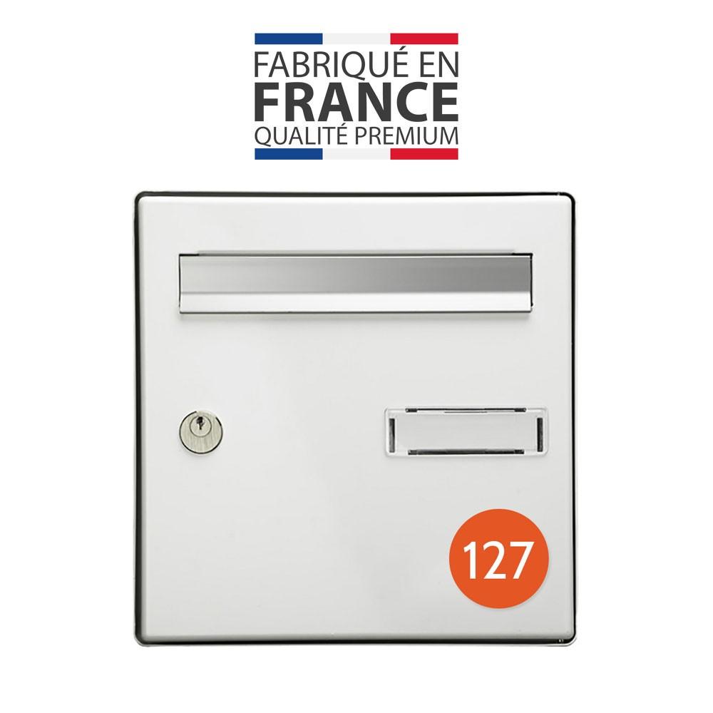 Numéro pour boite aux lettres personnalisable format rond diamètre 60 mm couleur orange chiffres blancs