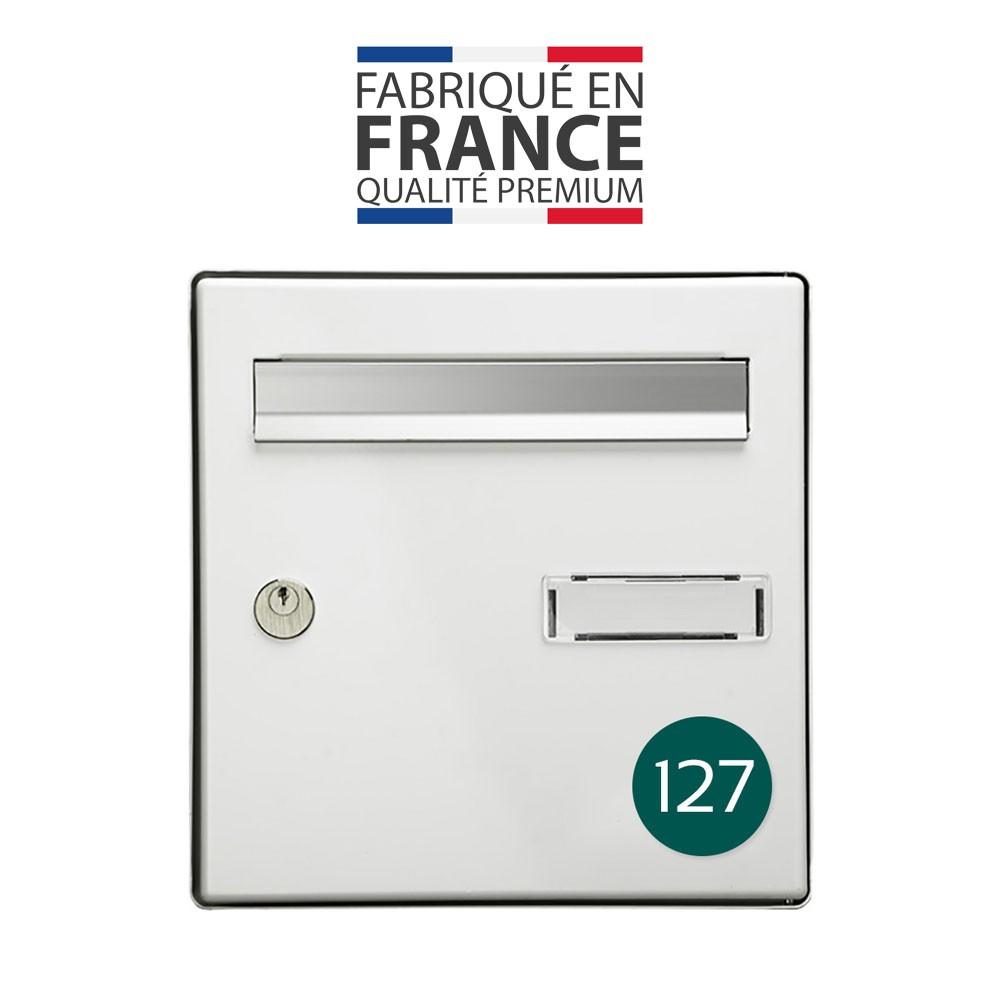 Numéro pour boite aux lettres personnalisable format rond diamètre 60 mm couleur vert foncé chiffres blancs