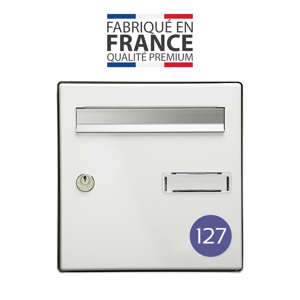 Numéro pour boite aux lettres personnalisable format rond diamètre 60 mm couleur violet chiffres blancs