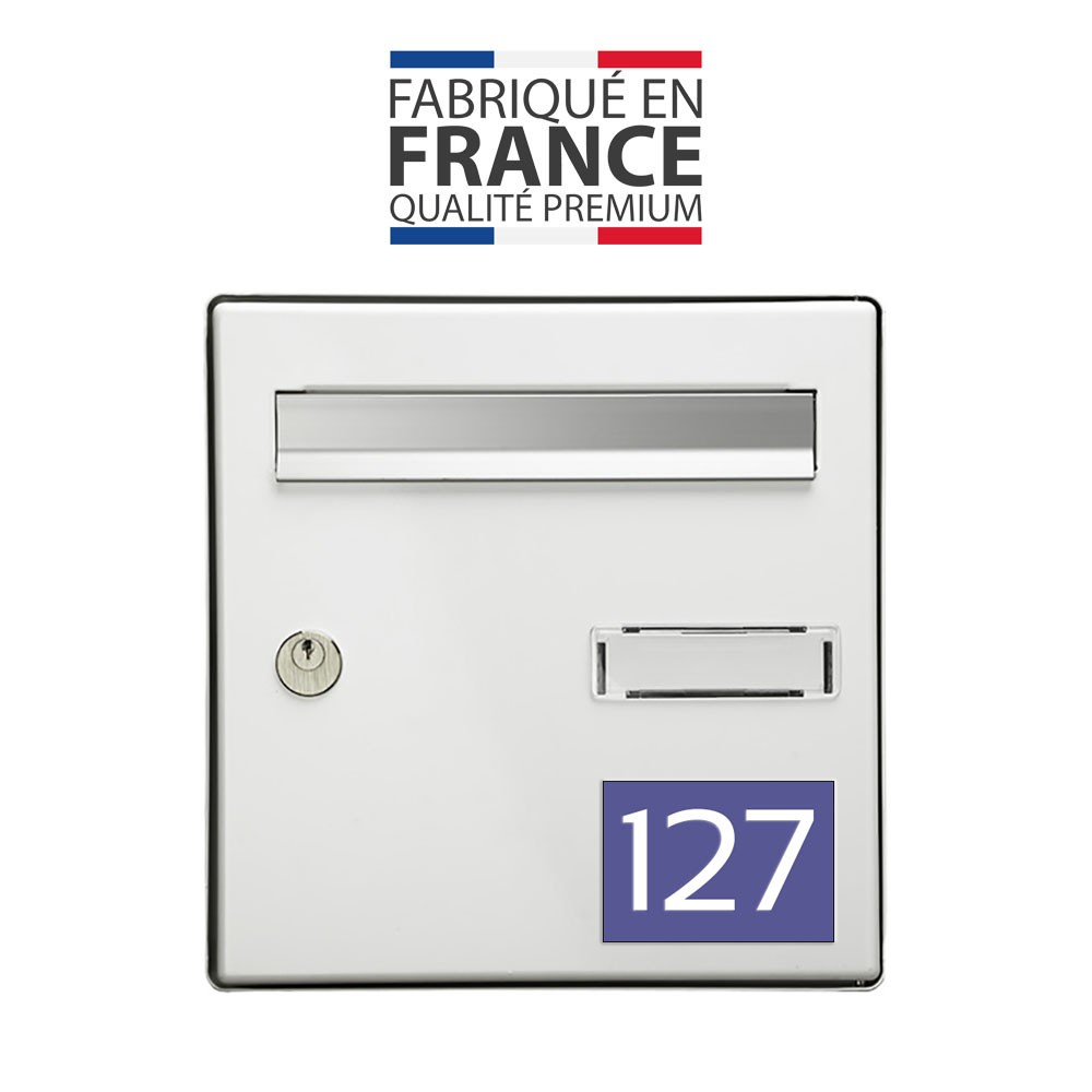Numéro pour boite aux lettres personnalisable rectangle grand format (100x70mm) violet chiffres blancs