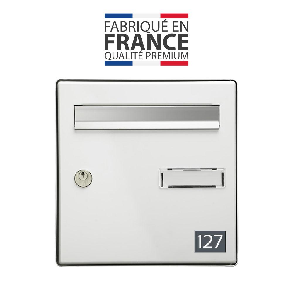 Numéro pour boite aux lettres personnalisable rectangle petit format (50x35mm) gris chiffres blancs