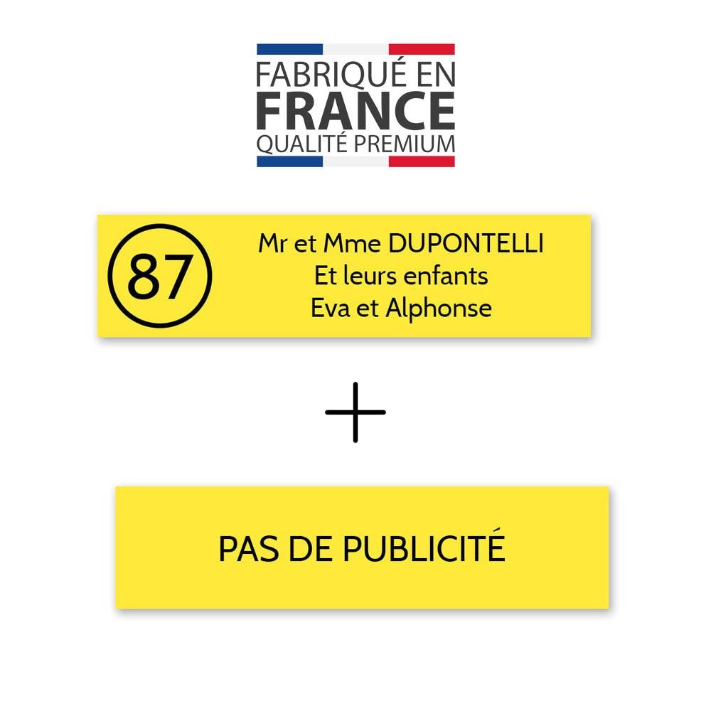 Plaque nom avec numéro + Plaque Stop Pub pour boite aux lettres format Decayeux (100x25mm) jaune lettres noires - 3 lignes