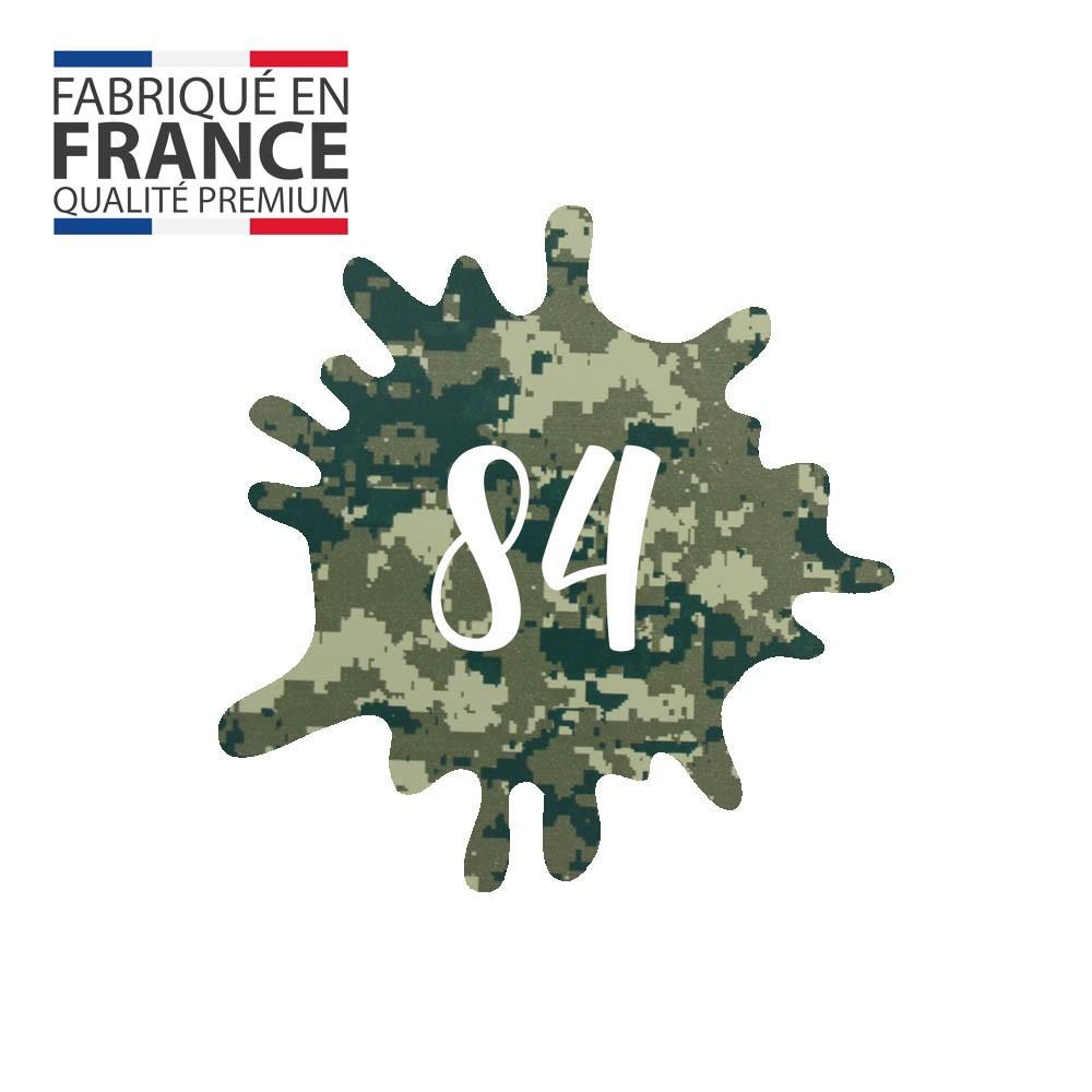 Numéro fantaisie personnalisable pour boite aux lettres couleur Camo Vert chiffres blancs - Modèle Splash