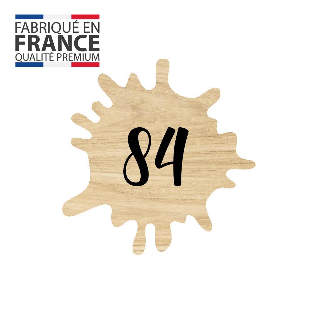 Numéro fantaisie personnalisable pour boite aux lettres couleur effet bois clair chiffres noirs - Modèle Splash