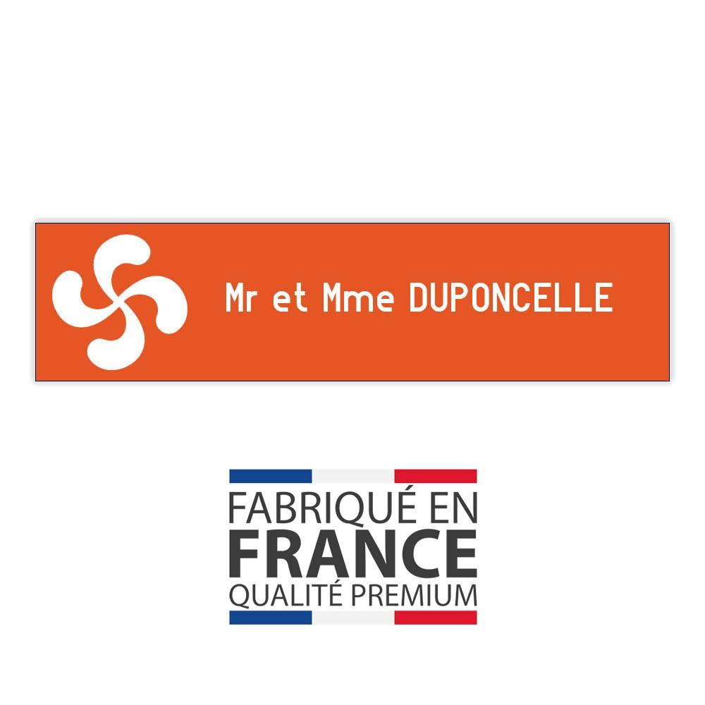 Plaque boite aux lettres format Decayeux CROIX BASQUE (100x25mm) orange lettres blanches - 1 ligne