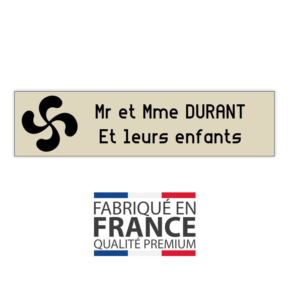 Plaque boite aux lettres format Decayeux CROIX BASQUE (100x25mm) beige lettres noires - 2 lignes
