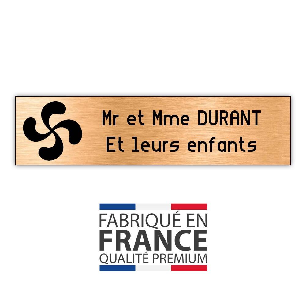 Plaque boite aux lettres format Decayeux CROIX BASQUE (100x25mm) cuivre lettres noires - 2 lignes