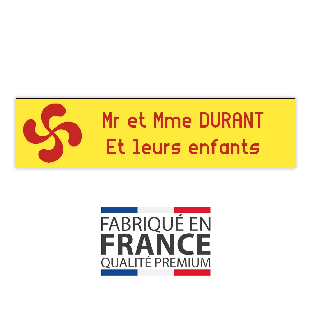 Plaque boite aux lettres format Decayeux CROIX BASQUE (100x25mm) Jaune lettres rouges - 2 lignes
