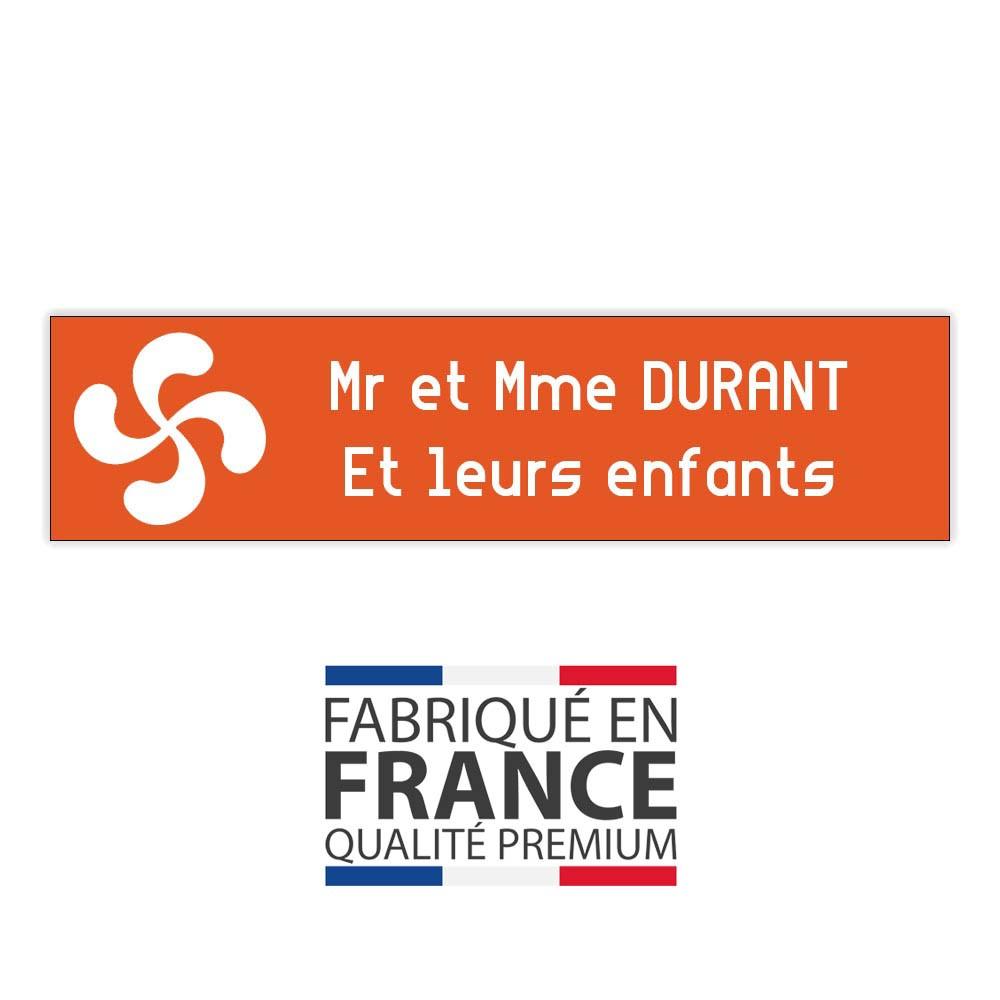 Plaque boite aux lettres format Decayeux CROIX BASQUE (100x25mm) orange lettres blanches - 2 lignes