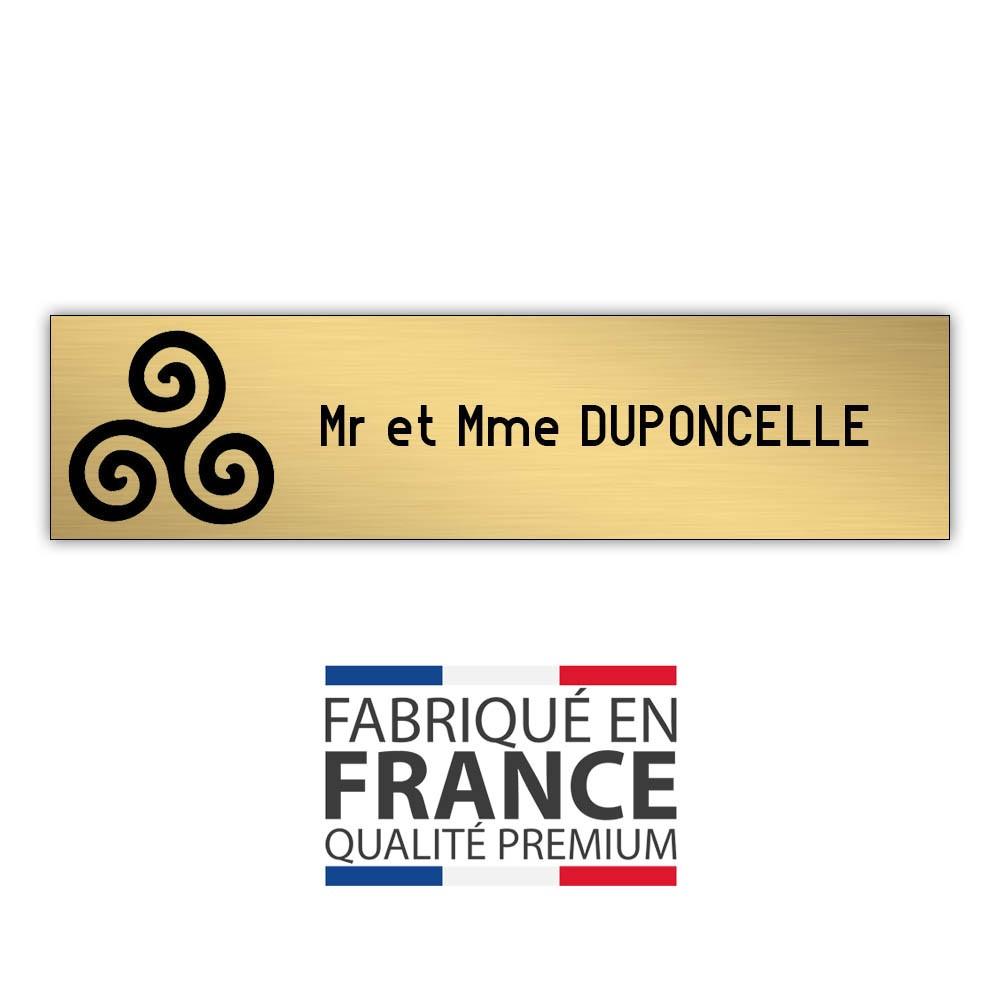 Plaque boite aux lettres format Decayeux TRISKELL (100x25mm) or brossé lettres noires - 1 ligne