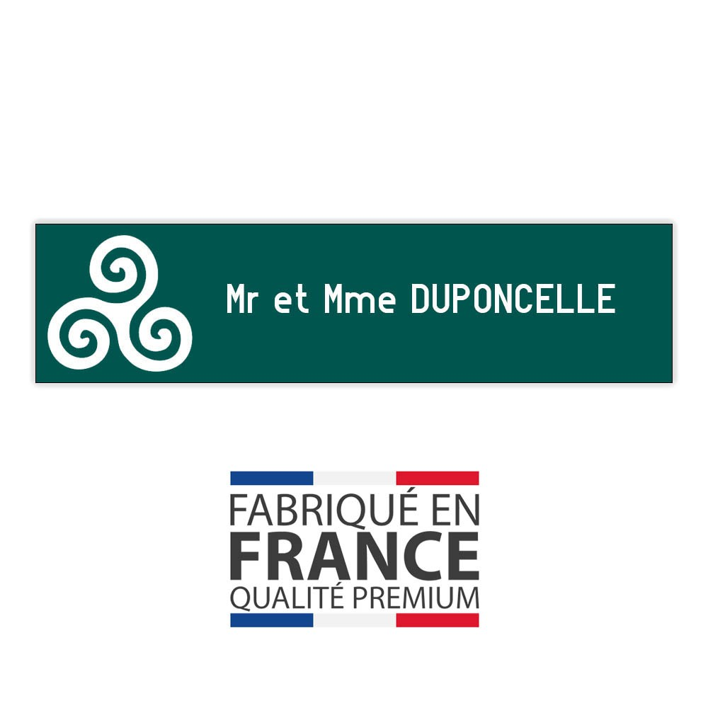 Plaque boite aux lettres format Decayeux TRISKELL (100x25mm) vert foncé lettres blanches - 1 ligne