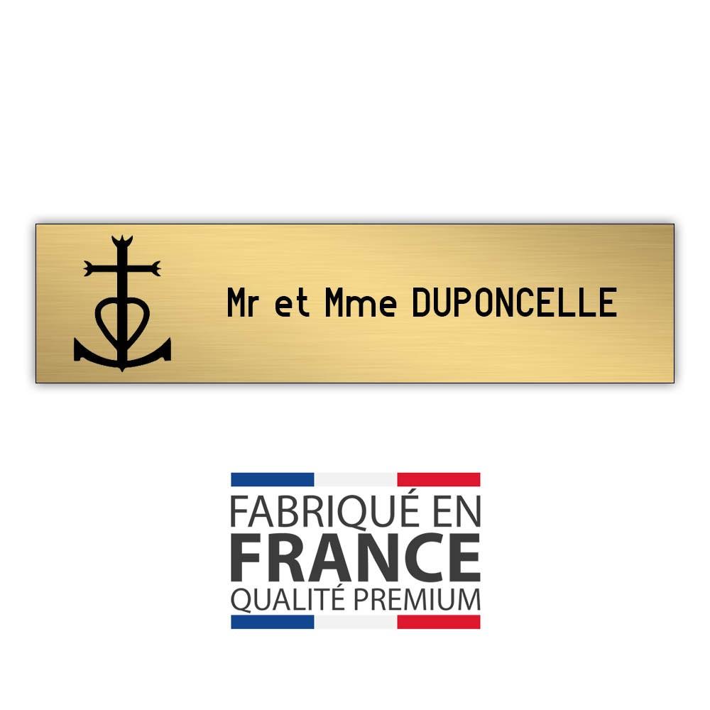 Plaque boite aux lettres format Decayeux CROIX CAMARGUAISE (100x25mm) or brossé lettres noires - 1 ligne