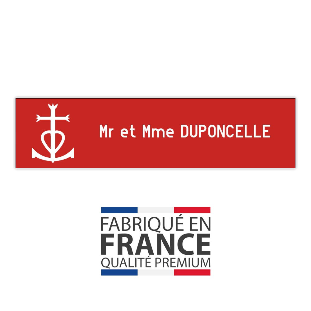 Plaque boite aux lettres format Decayeux CROIX CAMARGUAISE (100x25mm) rouge lettres blanches - 1 ligne