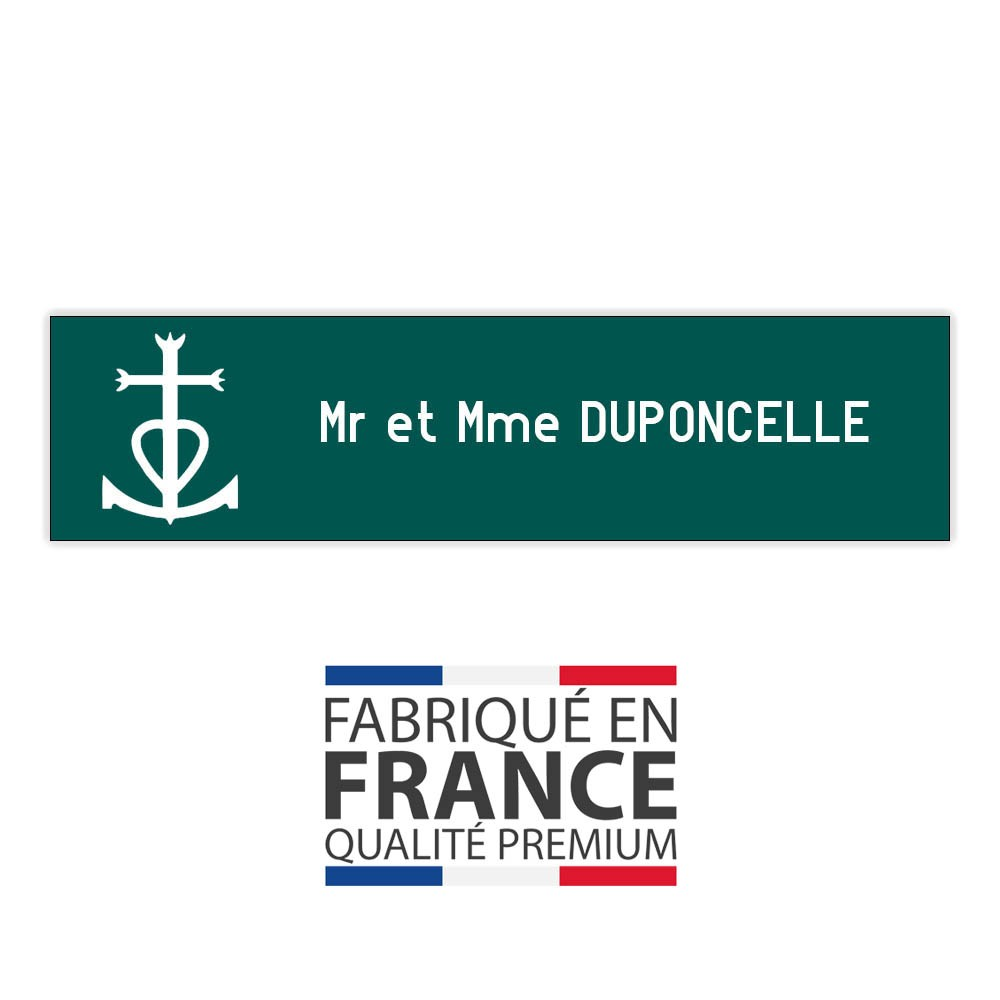 Plaque boite aux lettres format Decayeux CROIX CAMARGUAISE (100x25mm) vert foncé lettres blanches - 1 ligne