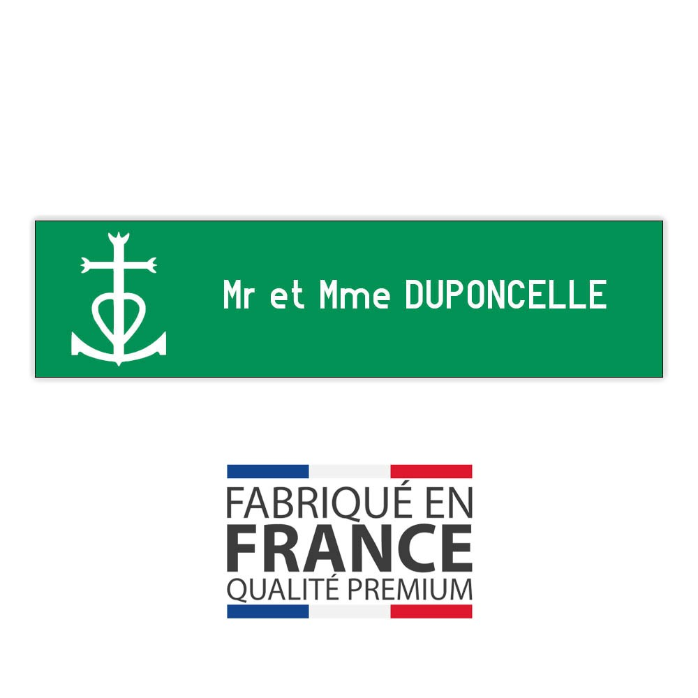 Plaque boite aux lettres format Decayeux CROIX CAMARGUAISE (100x25mm) vert pomme lettres blanches - 1 ligne