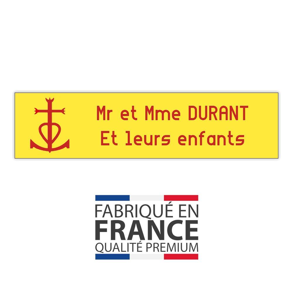 Plaque boite aux lettres format Decayeux CROIX CAMARGUAISE (100x25mm) Jaune lettres rouges - 2 lignes