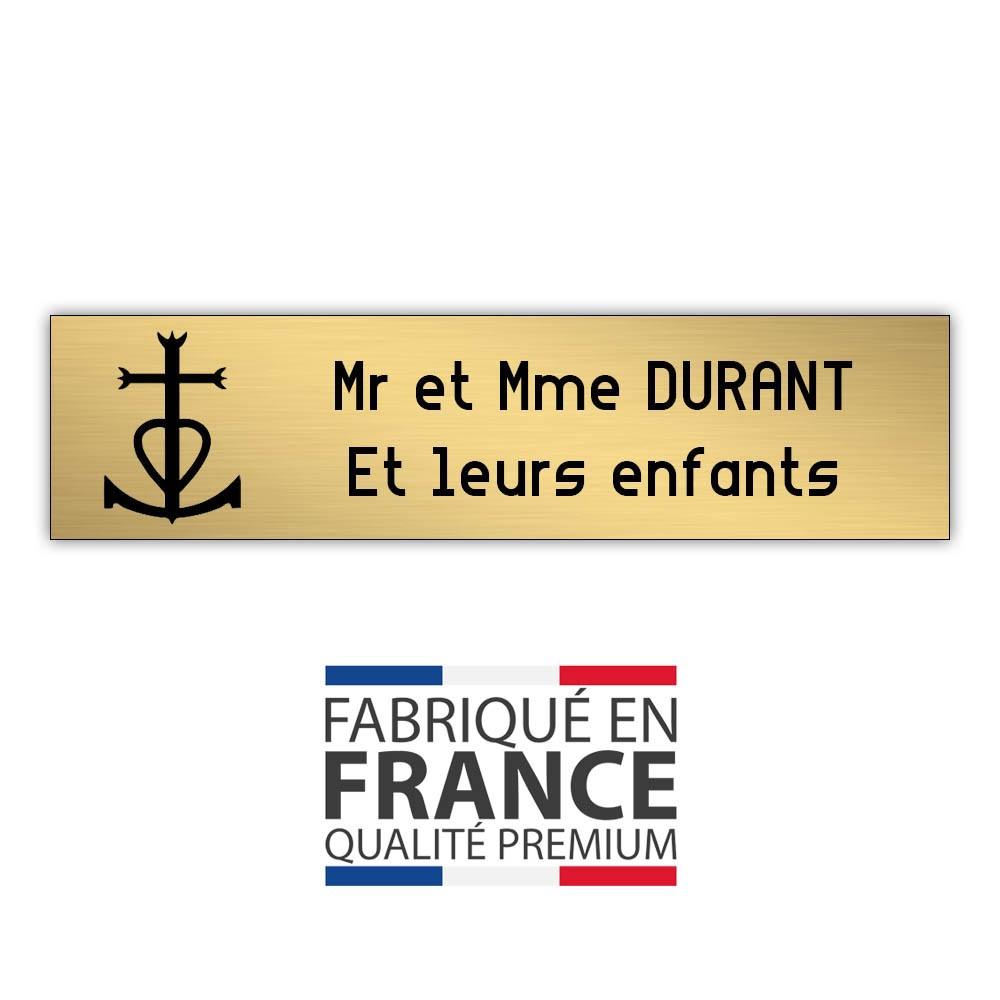 Plaque boite aux lettres format Decayeux CROIX CAMARGUAISE (100x25mm) or brossé lettres noires - 2 lignes