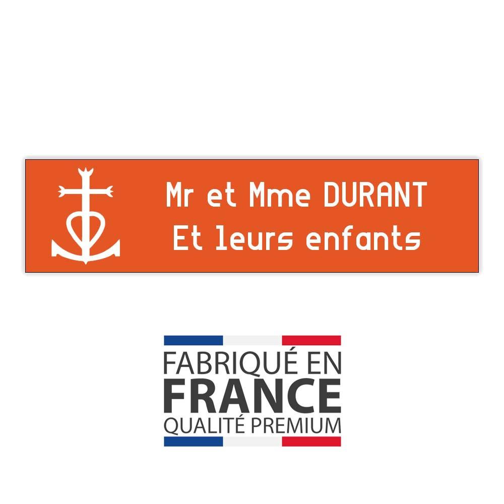 Plaque boite aux lettres format Decayeux CROIX CAMARGUAISE (100x25mm) orange lettres blanches - 2 lignes