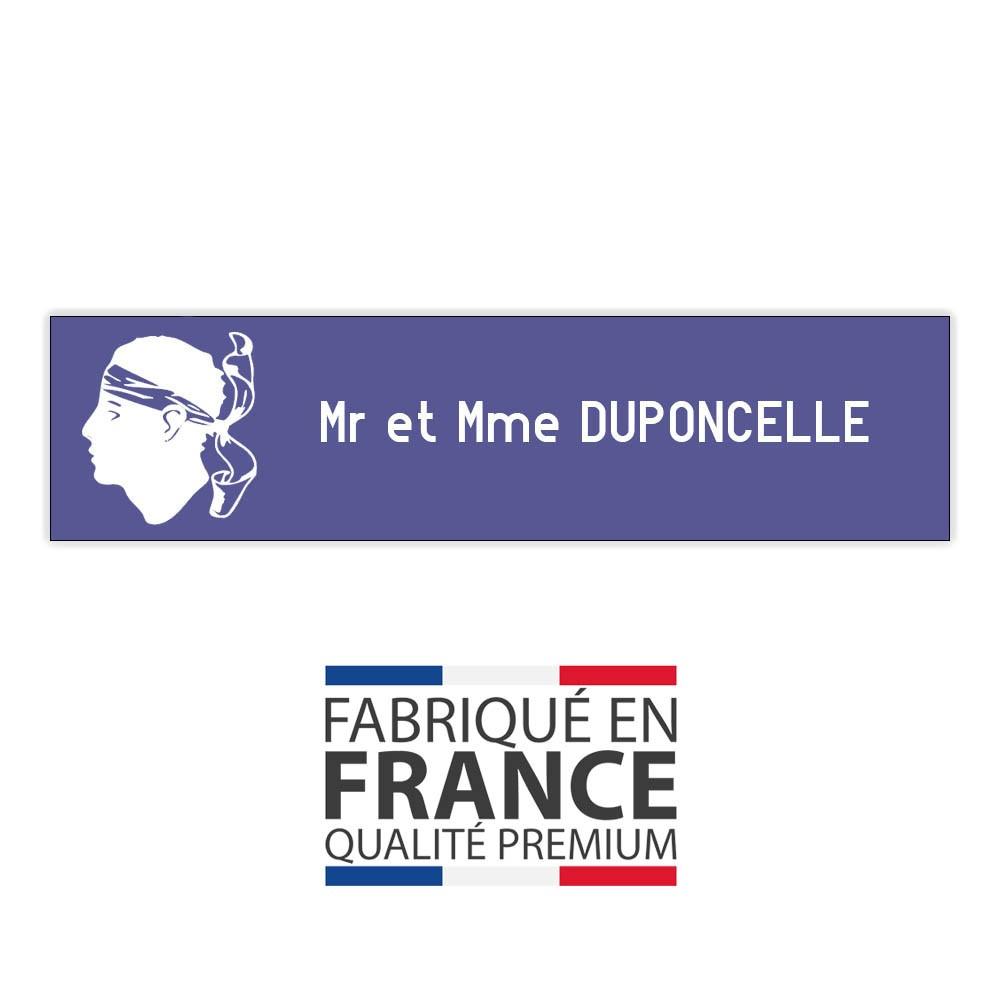 Plaque boite aux lettres format Decayeux CORSE (100x25mm) violette lettres blanches - 1 ligne