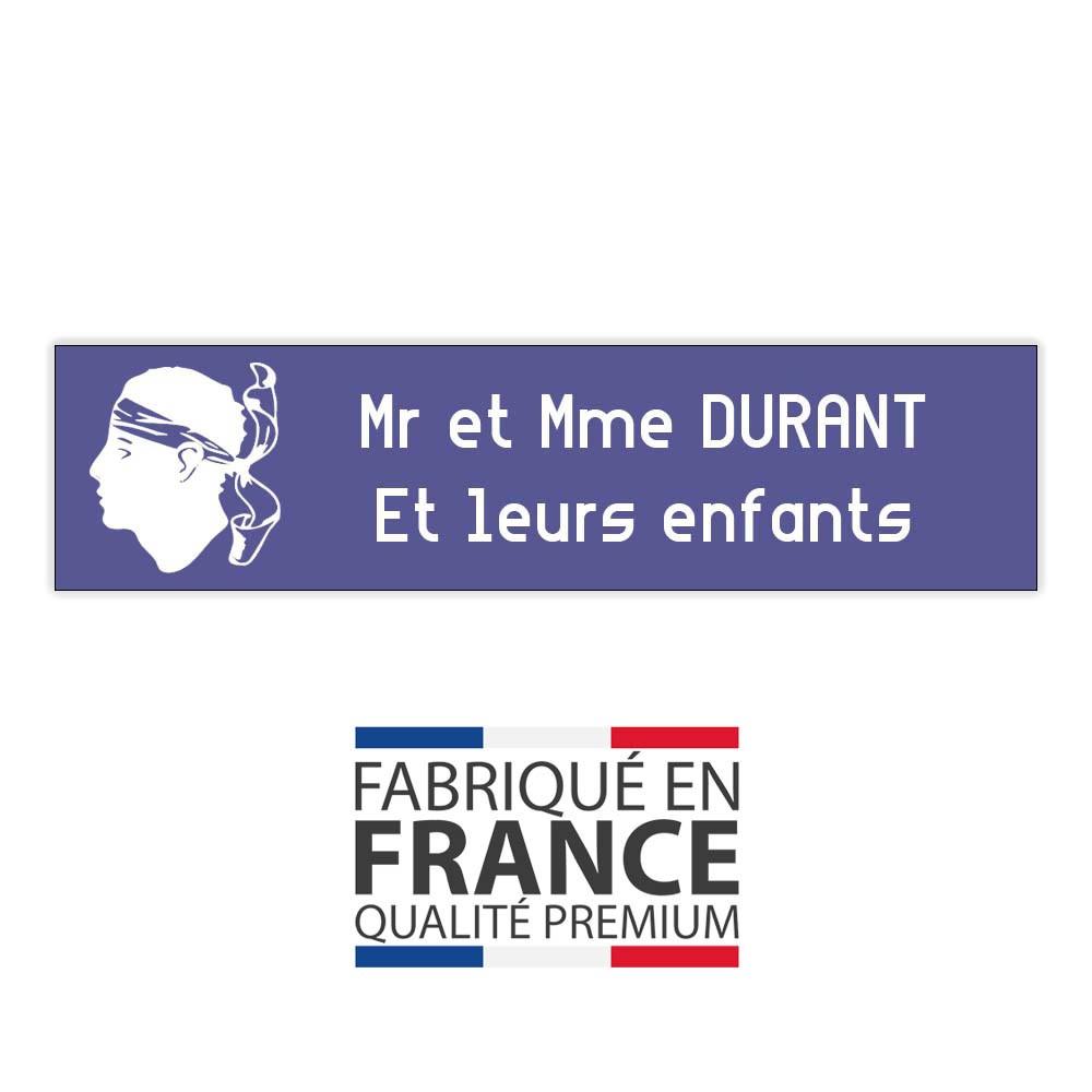 Plaque boite aux lettres format Decayeux CORSE (100x25mm) violette lettres blanches - 2 lignes