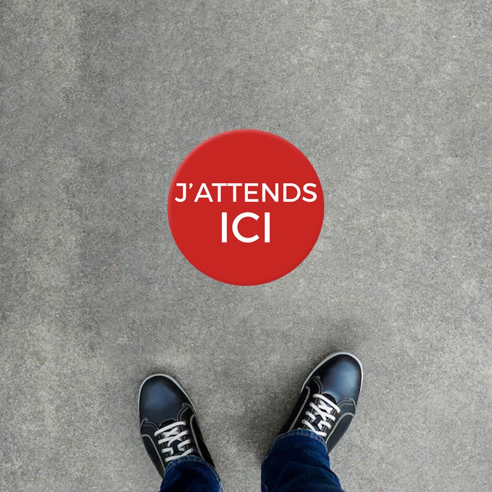 """Adhésif rouge rond 40 cm """"J'ATTENDS ICI"""" protection Covid-19 distance de sécurité"""