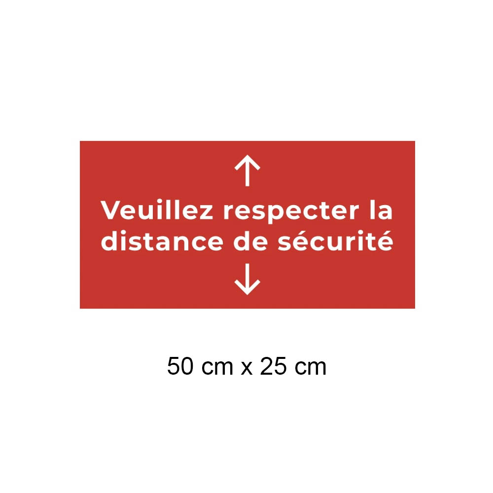 Adhésif de sol 50 cm x 25 cm Protection Covid-19 Respect distance de sécurité