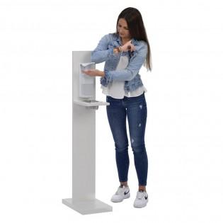 Distributeur de gel hydroalcoolique désinfection des mains - Flacon 1000 ml - Bois couleur blanc