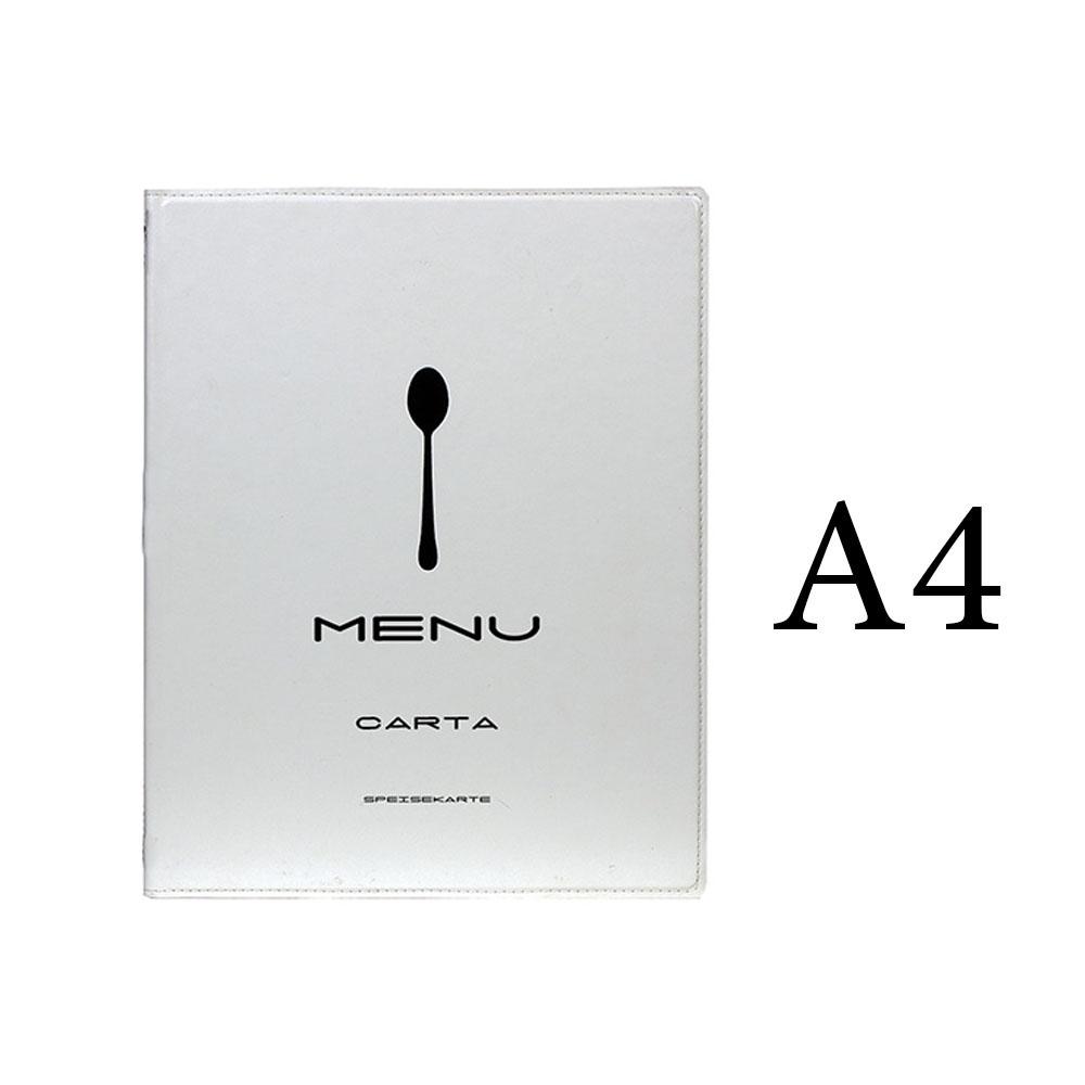 Protège menu Tendance format A4 couleur Blanc en simili cuir - Securit