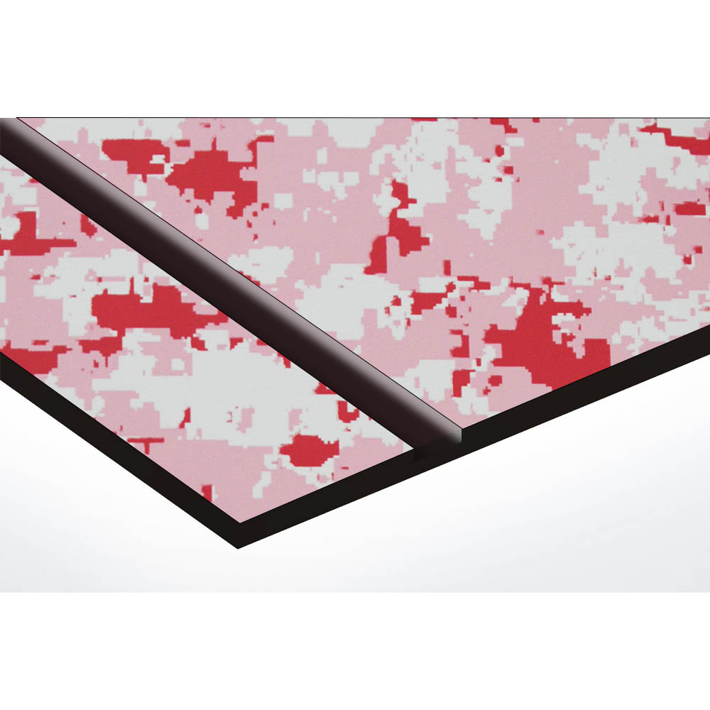Plaque nom 2 lignes et symbole YIN YANG pour boite aux lettres type Decayeux (100x25mm) texture camouflage rose