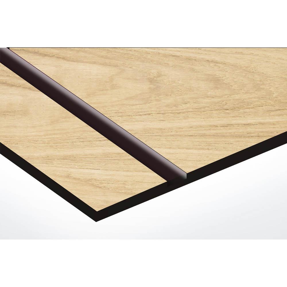 Plaque nom 1 ligne et symbole YIN YANG pour boite aux lettres type Decayeux (100x25mm) effet bois clair