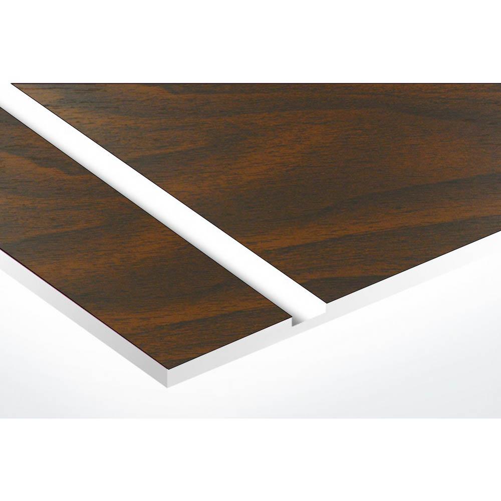 Plaque nom 2 lignes et symbole YIN YANG pour boite aux lettres type Decayeux (100x25mm) effet bois foncé
