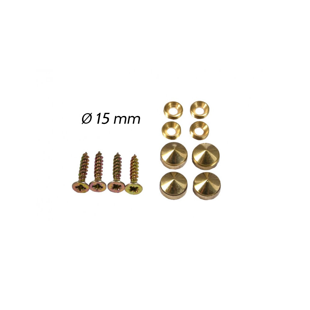 Set de 4 cache vis laiton 12 mm tête conique