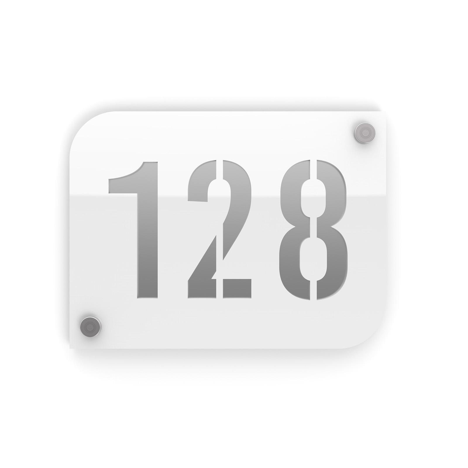 Plaque numéro de rue / maison blanc design avec fond personnalisable - Modèle URBAN