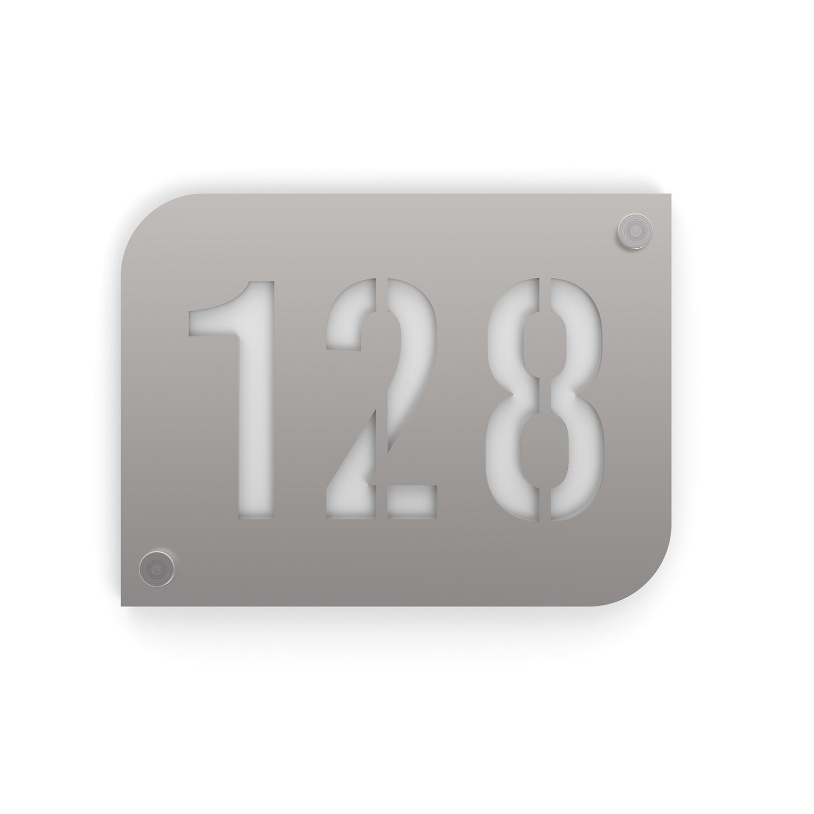 Plaque numéro de rue / maison argent brillant design avec fond personnalisable - Modèle URBAN