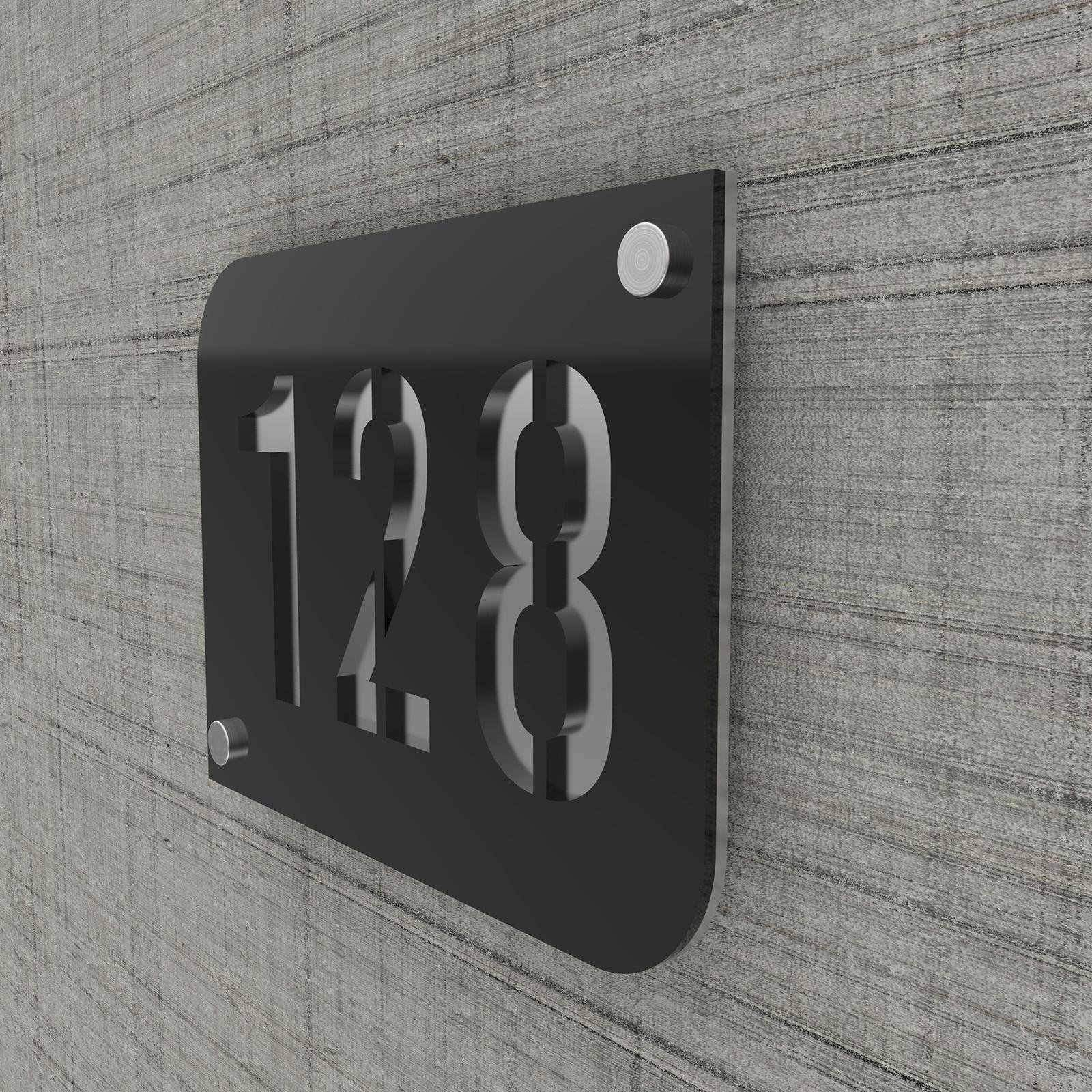 Plaque numéro de rue / maison noire design avec fond personnalisable - Modèle URBAN
