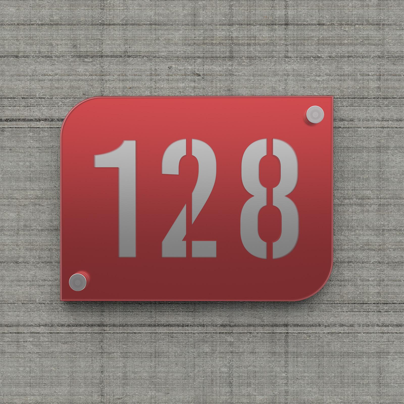 Plaque numéro de rue / maison rouge design avec fond personnalisable - Modèle URBAN