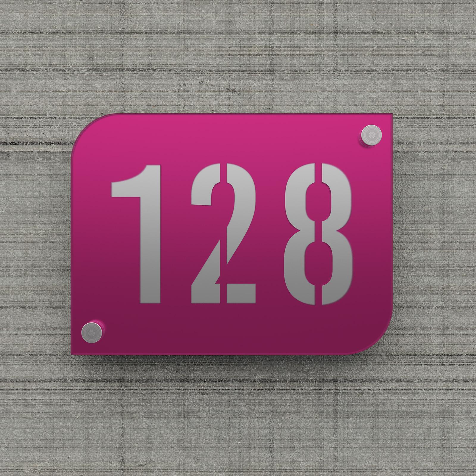 Plaque numéro de rue / maison violet design avec fond personnalisable - Modèle URBAN