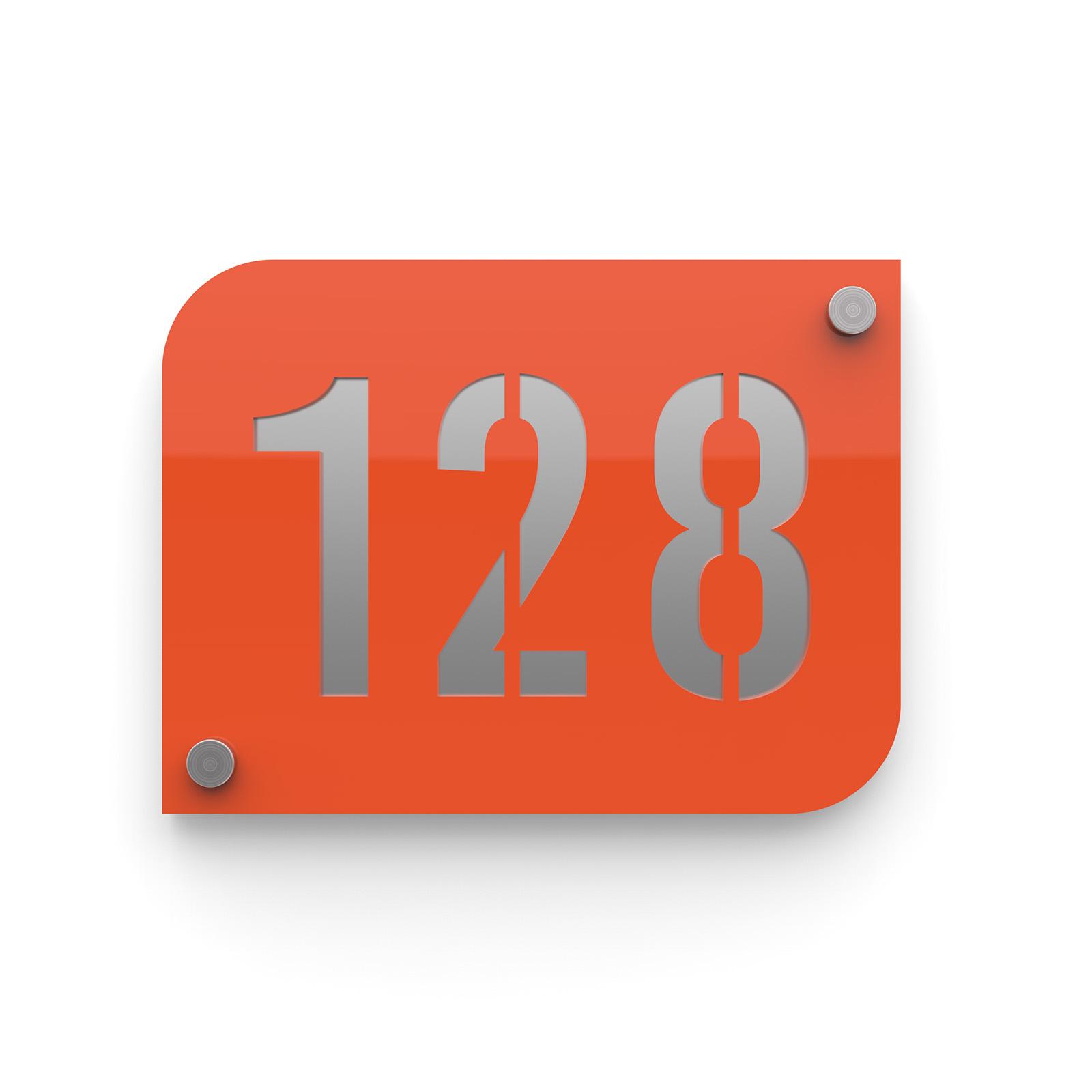 Plaque numéro de rue / maison orange design avec fond personnalisable - Modèle URBAN